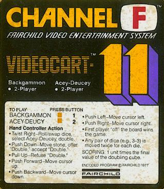 Videocart-11: Backgammon, Acey-Duecy