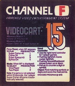 Videocart-15: Memory Match