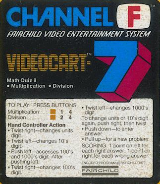 Videocart-7: Math Quiz II